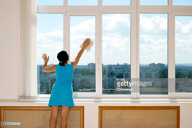 A female in a blue dress cleaning tall windows