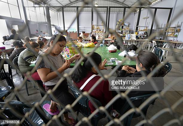 Female inmates participate in a handcraft workshop at the Ancon 2 prison part of the Piedras Gordas Model Penitentiary complex about 12 km north of...
