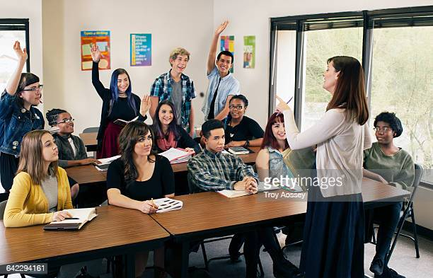female instructor teaching high school class. - high school musical: the musical: the series stock pictures, royalty-free photos & images