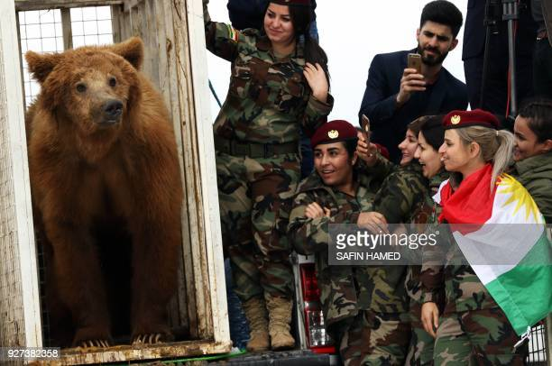 Female Iraqi Kurdish peshmerga fighters watch on as they release a bear into the wild in the Gara Mountains near the northern Iraqi city of Dohuk on...