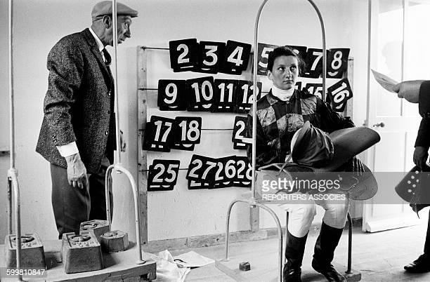 Female Jockey Weighing at Langolvas Racecourse in Morlaix France in June 1963