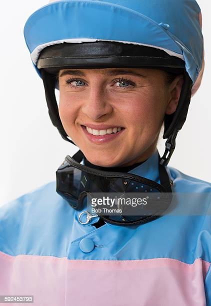 Female Jockey with Helmet and Goggles