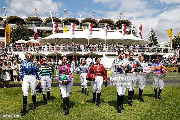 Female jockeys Leonora Smee, Dido Harding, Emily London , Camilla Henderson, Clare Salmon, Victoria Gray, Alexis Green, Jemima Hannon, Isabelle...