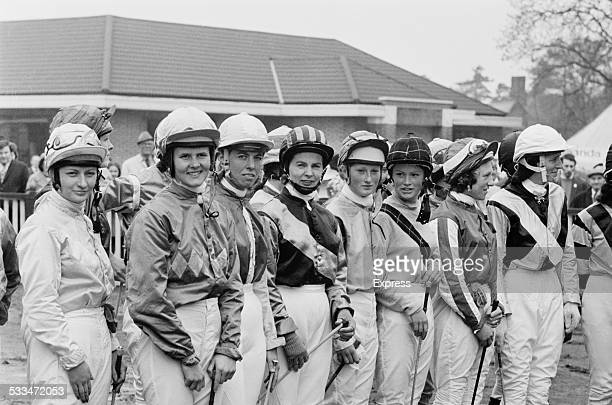 Female jockey's line up at the Goya Stakes ladies race at Kempton Park, Surrey, 6th May 1972.