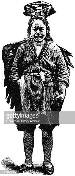 Female Ju Tribe Member of Mountaineers China 'Classical Portfolio of Primitive Carriers' by Marshall M Kirman World Railway Publ Co Illustration 1895