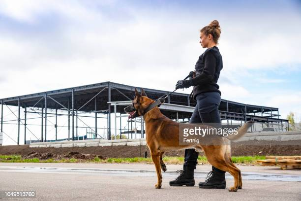 A female K-9 security professional with a Belgian Malinois on guard.