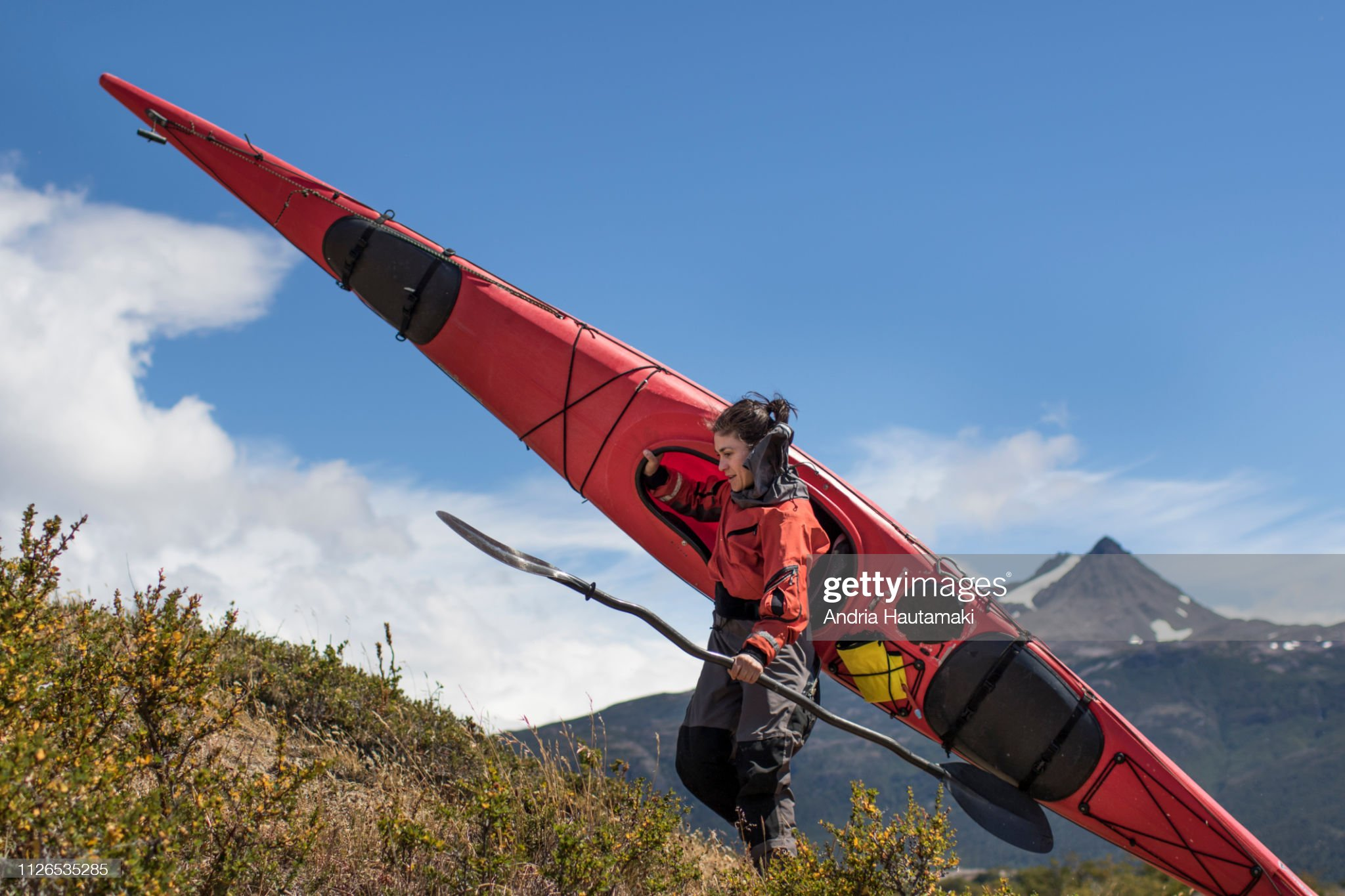 Female kayaker portrait in Chilean Patagonia : Stock Photo