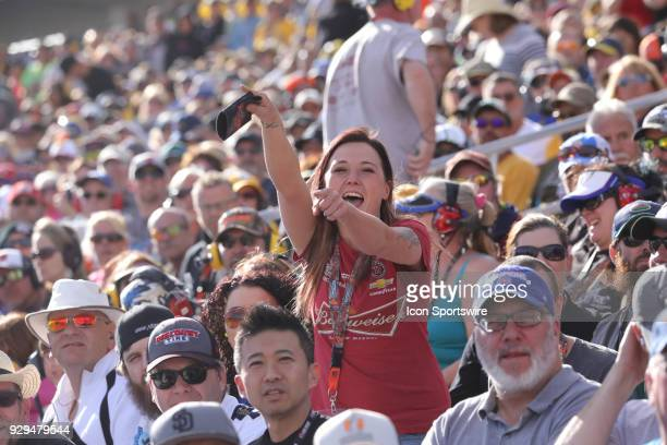 A female Kevin Harvick fan celebrates during the Pennzoil 400 Monster Energy NASCAR Cup Series race on March 4 at Las Vegas Motor Speedway in Las...