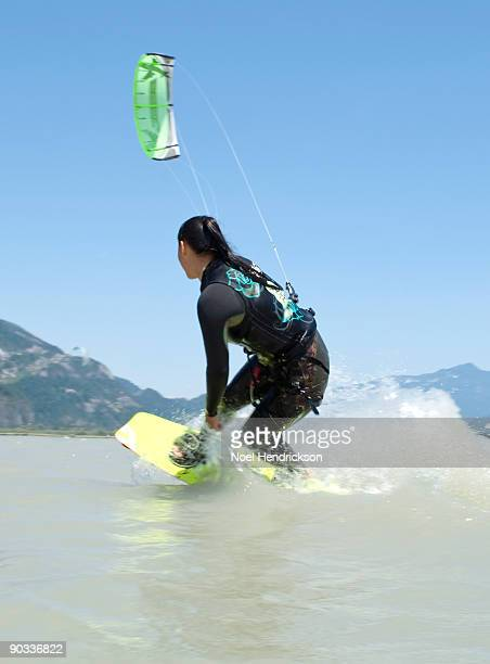 female kite boarder, on water