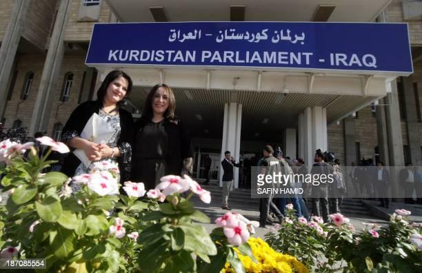 Female Kurdish deputies are pictured outside the Kurdistan parliament building in Arbil the capital of the autonomous Kurdish region of northern Iraq...