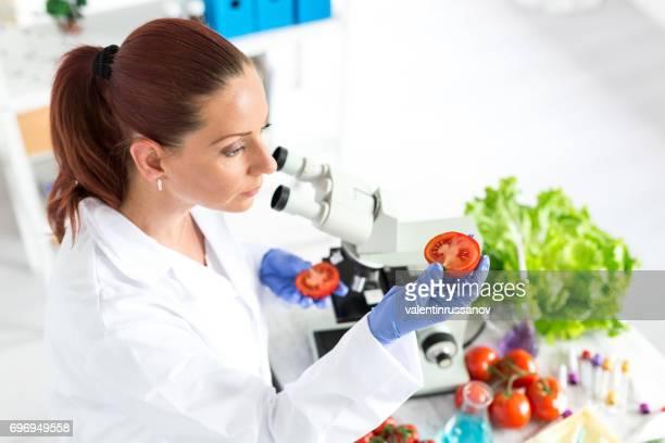 Técnico de laboratorio mujer verificar la calidad de hortalizas