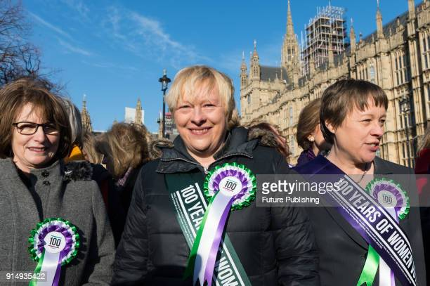 Female Labour politicians including Angela Eagle MP gather outside Parliament as the Labour Party launches campaign to celebrate the 100th...