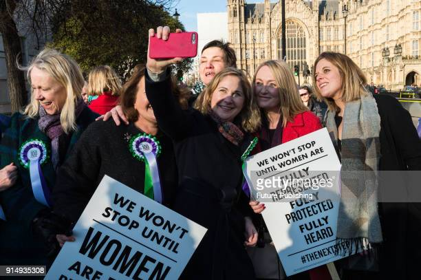 Female Labour politicians including MPs and members of the Shadow Cabinet gather outside Parliament as the Labour Party launches campaign to...