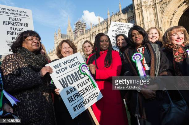 Female Labour politicians including Shadow Home Secretary Diane Abbott gather outside Parliament as the Labour Party launches campaign to celebrate...