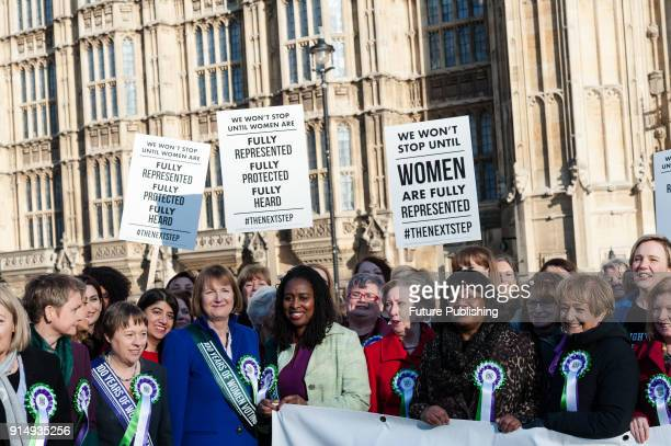 Female Labour politicians including Shadow Minister for Women and Equalities Dawn Butler and Shadow Home Secretary Diane Abbott gather outside...