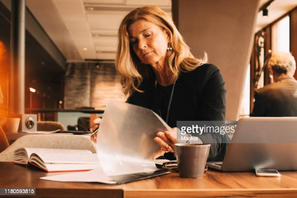 female lawyer reading documents and using laptop while sitting at cafeteria in law office - law stock pictures, royalty-free photos & images