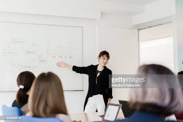 female leader giving a presentation at a meeting - small group of people stock pictures, royalty-free photos & images