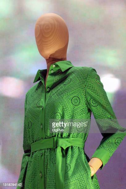 female like mannequin in green openwork cloth dress - 実物大 ストックフォトと画像