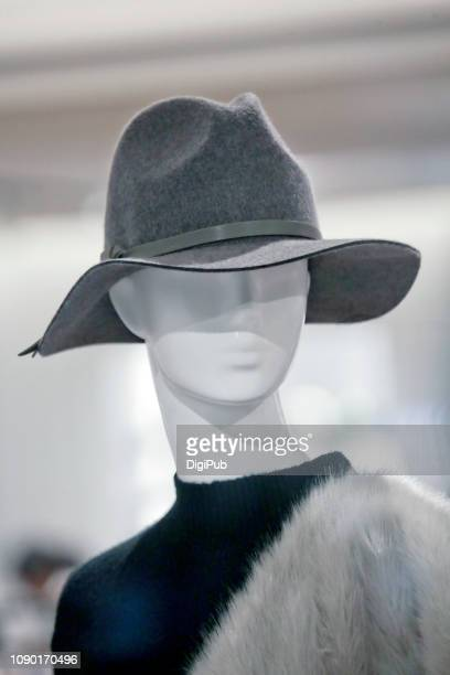 female like mannequin wearing fedora - fedora stock pictures, royalty-free photos & images