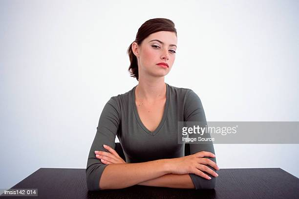 female looking at camera - sulking stock photos and pictures