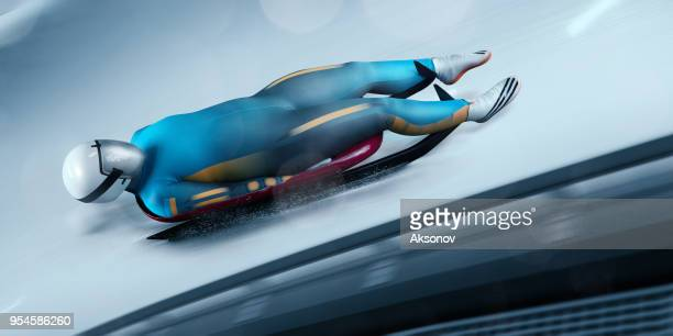 female luge athlete in professional luge track - luge stock pictures, royalty-free photos & images