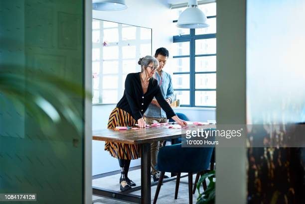 female manager and male colleague sticking notes on desk - amputee woman stock pictures, royalty-free photos & images