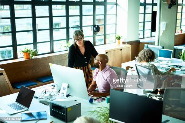 female manager chatting to male colleague at work station - role model stock pictures, royalty-free photos & images