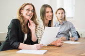 female business manager sitting conference room