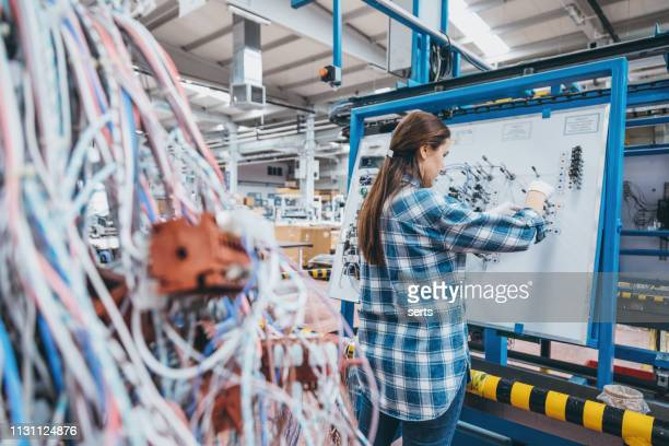 female manuel worker working on the production line in factory - safety harness stock pictures, royalty-free photos & images