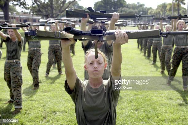 Female Marine Corps recruit Kylieanne Fortin of Williamsport Maryland goes through close combat training at the United States Marine Corps recruit...