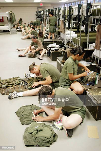 Female Marine Corps recruits take care of many tasks during a brief period of personal time prior to taps at the United States Marine Corps recruit...
