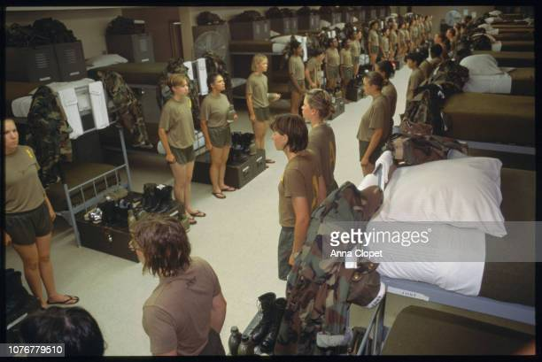 Female Marines Lined Up in Barracks
