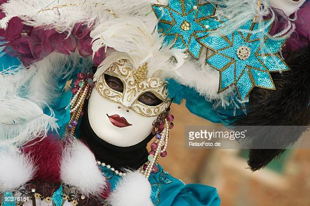 female mask with beautiful costume at carnival in venice (xxl) - venice carnival stock pictures, royalty-free photos & images