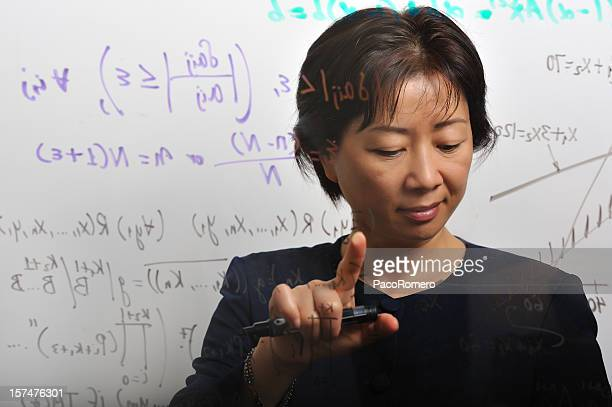 Female mathematician at work