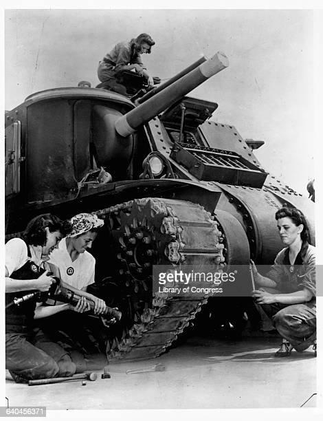 Female Mechanics Service M3 Medium Tank at Aberdeen Proving Ground
