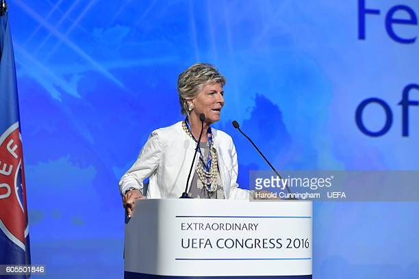 Female Member of the FIFA Council Evelina Christillin speaking at the 12th Extraordinary UEFA Congress at the Grand Resort Lagonissi Hotel on...