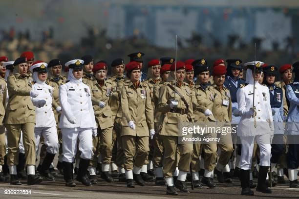 Female members of Pakistani Armed Forces attend a military parade to mark Pakistan's National Day in Islamabad Pakistan on March 23 2018
