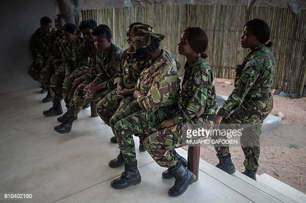 Female members of the antipoaching team Black Mamba prepare for the night patroles on September 24 2016 in Hoedspruit in the Limpopo province of...