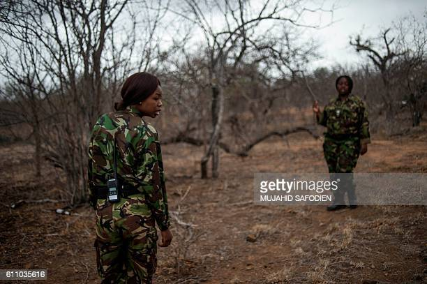 Female members of the antipoaching team Black Mamba prepare for the night patroles on September 24 2016 in the Limpopo province of South Africa South...