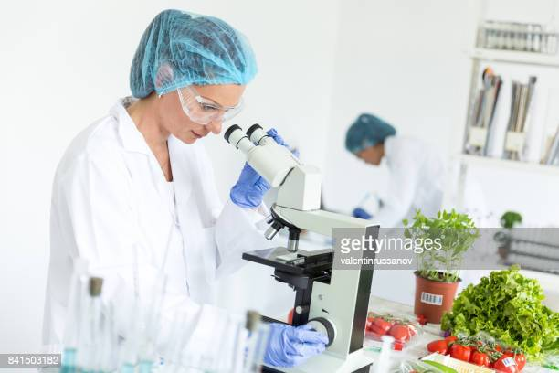 Female microbiologists making researches in laboratoty