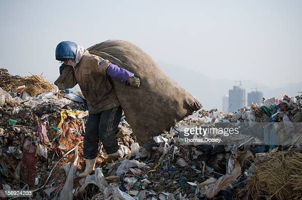 A female migrant worker from Henan province is carrying a large bag of plastic bottles she has collected at the Dalian Jinzhou garbage dump China...