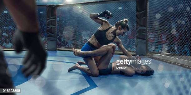 female mixed martial arts fighters grappling in octagon during competition - mixed martial arts stock pictures, royalty-free photos & images