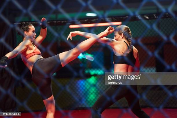 female mma fighters training. high kick. looking through net - mixed martial arts stock pictures, royalty-free photos & images