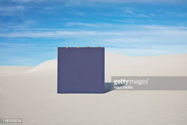 Female models holding blue portal on white sand at desert