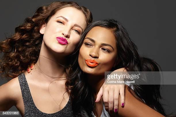 Female models puckering