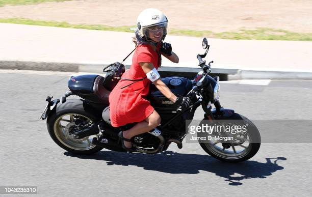 A female motorcyclist during a charity ride on September 30 2018 in Sydney Australia The Distinguished Gentleman's Ride is an annual event held...