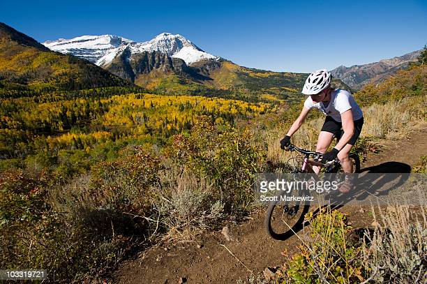 female mountain biker riding in the mountains, provo, utah. - provo stock pictures, royalty-free photos & images