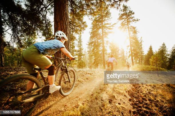 Female mountain bikers descending down forest trail together on summer evening