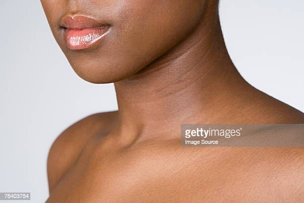 female mouth neck and shoulders - clavicle stock photos and pictures