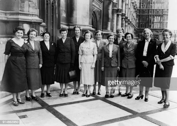 Female MPs on the terrace of the House of Commons in London 7th June 1955 From left to right Jennie Lee Alice Bacon Bessie Braddock Edith Pitt...